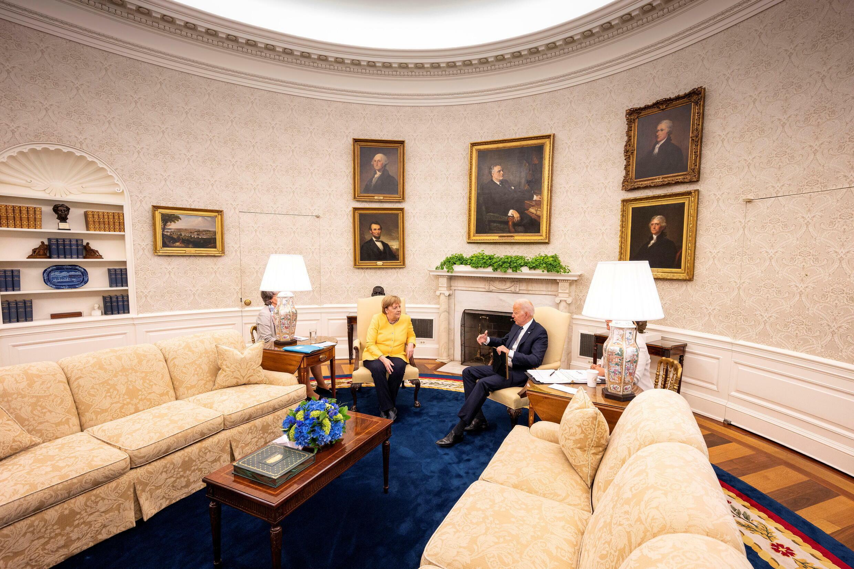 Rais wa Marekani Joe Biden anafanya mkutano wa pande mbili na Kansela wa Ujerumani Angela Merkel, White House, Washington, Julai 15, 2021