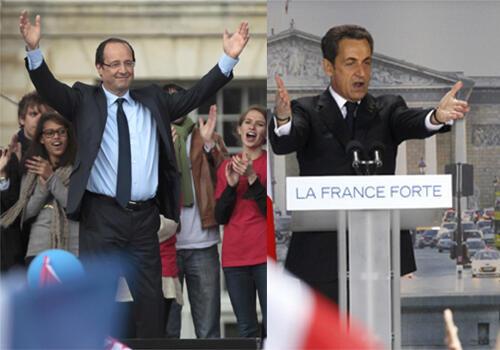 Wagombea urais nchini Ufaransa kushoto ni François Hollande na kulia ni rais wa sasa Nicolas Sarkozy