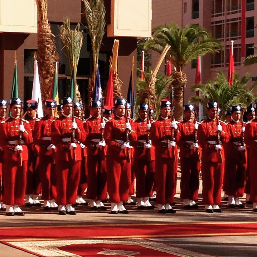 Guards line up in front of the Congress Palace in Marrakesh during the first ever Africa Action Summit, Wednesday 16 November 2016
