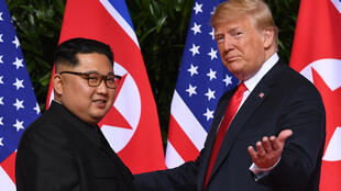 "US President Donald Trump (R) meets with North Korea's leader Kim Jong Un (L) at the start of their summit in Singapore on June 12, 2018 -- two years on, Pyongyang says any hopes for better ties have turned to feelings of ""despair"""