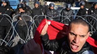 Manifestation à Tunis, le 24 janvier 2011.
