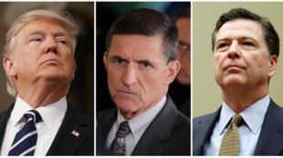 Ba nhân vật trung tâm trong cơn bão chính trị Mỹ (từ trái sang phải): Tổng thống Donald Trump, cựu cố vấn an ninh Michael Flynn et cựu giám đốc FBI James Comey.