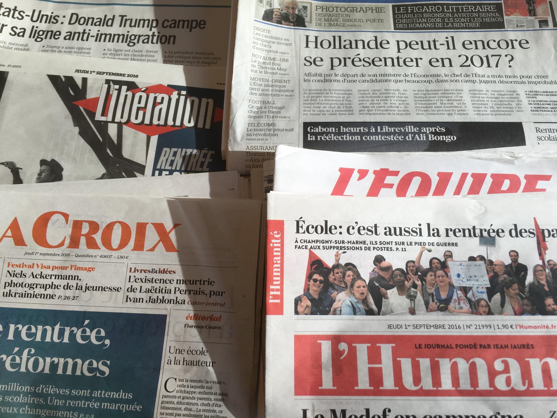 Primeiras páginas dos diários franceses 1/09/2016