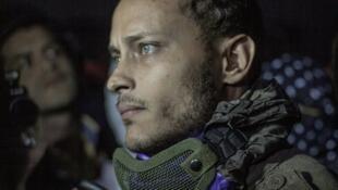 L'officier de police vénézuélien Oscar Perez, lors d'un rendez-vous de protestation antigouvernemental à Caracas, le 13 juillet 2017.