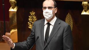 El primer ministro francés Jean Castex en el Parlamento, en París, el 29 de octubre de 2020