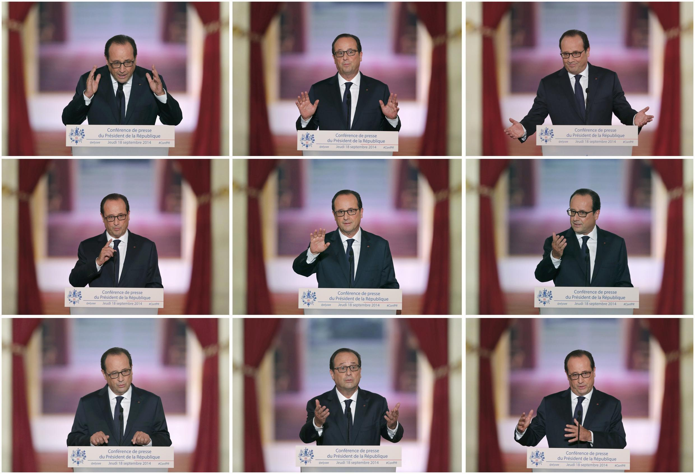 A coletiva de imprensa do presidente François Hollande no Palácio do Eliseu, 18 de setembro de 2014.