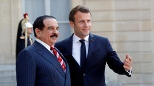 امانوئل ماکرون رئیس جمهوری فرانسه و پادشاه بحرین حمد بن عیسی آل خلیفه