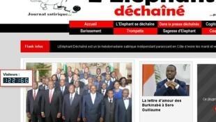 Page d'accueil du site internet de «L'Eléphant déchaîné».