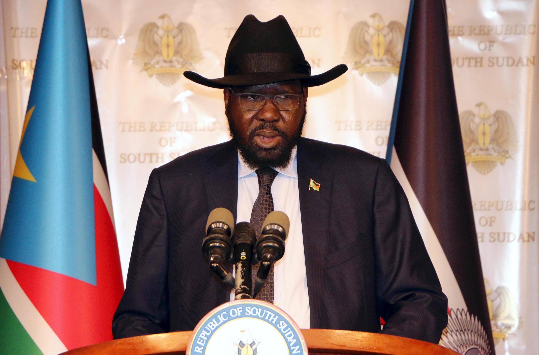 Le président sud-soudanais Salva Kiir, en juillet 2017, au palais présidentiel à Juba.