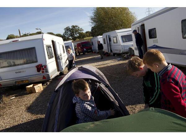 Camp de Travellers (Royaume-Uni, 2011).
