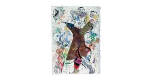Marc Chagall, «Au fil du temps (Homme au manteau-botte inversé)», planche II des «Poèmes (Comme un barbare)» Cramer, 1968,-1970.