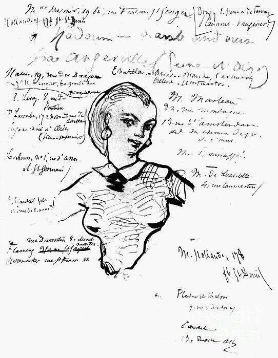 Jeanne Duval sur un dessin de Charles Baudelaire.