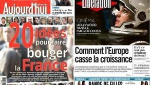 Capa dos jornais franceses Aujourd'hui en France e Libération desta quarta-feira, 5 de novembro de 2014.