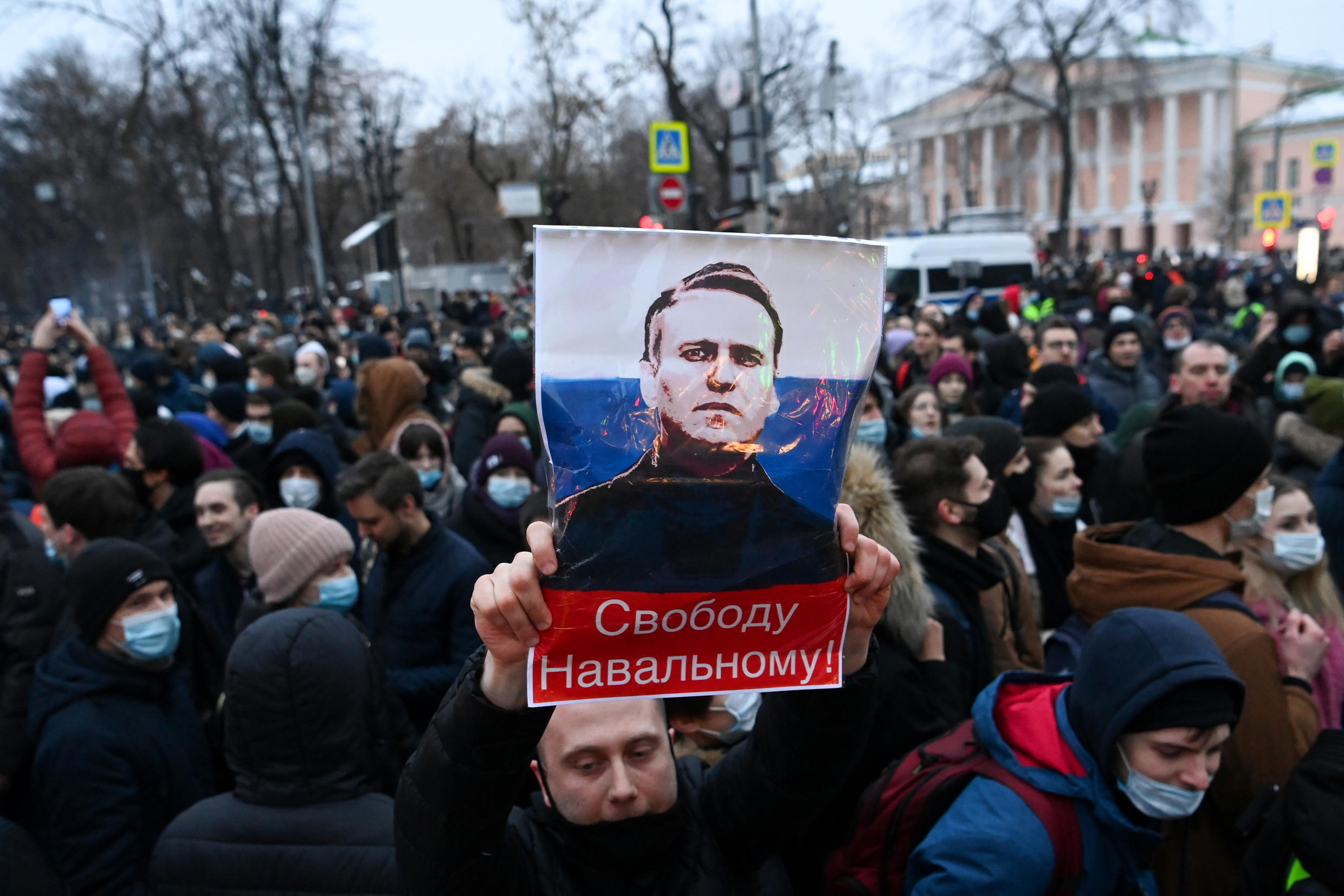 Tens of thousands of people demonstrated in cities across Russia on Saturday calling for Navalny's release