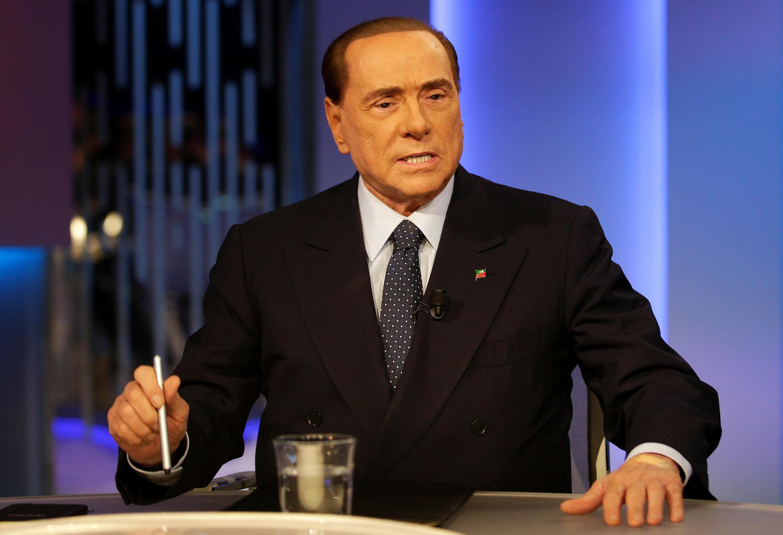 Silvio Berlusconi lors d'une émission télévisée «8 e mezzo», «8 et demi», le 21 février 2018, à Rome.