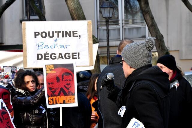 Один из плакатов c сирийской тематикой на митинге в Париже, 4 февраля, 2012