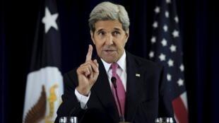美國國務卿克里在費城演講談伊朗核協議2015年9月2日賓夕法尼亞
