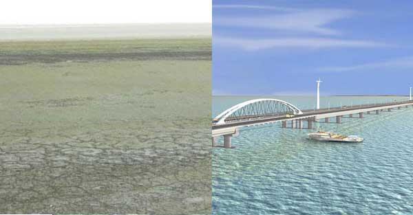 Le lac Orumiyeh de nos jours (gauche), dans les années 1970 (droite).