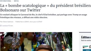 """Captura de vídeo da matéria """"'A bomba escatológica' do presidente brasileiro Bolsonaro no Twitter"""", publicada no site do Le Monde."""