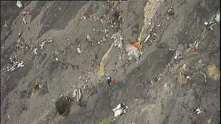 Debris of the Germanwings A320 scattered on the mountainside