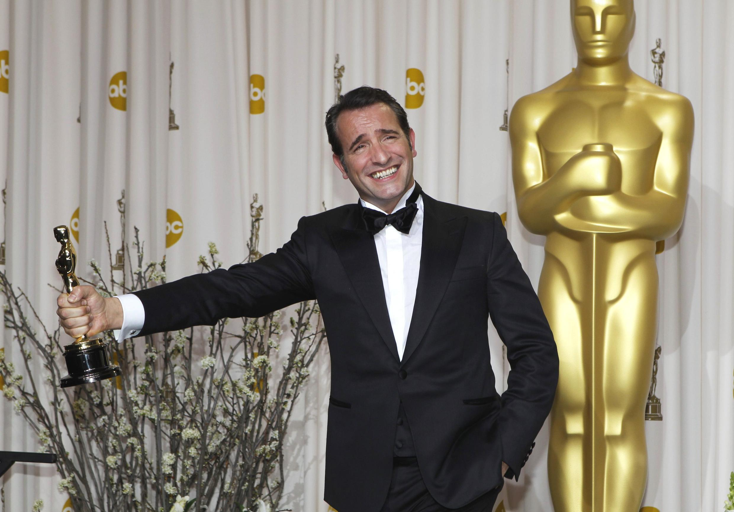 Jean Dujardin won Oscar for best actor for his role in the film The Artist, 26 February 2012.