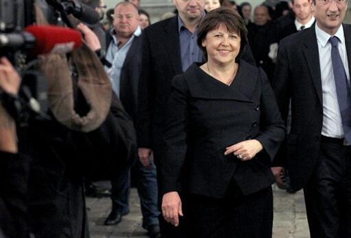 Martine Aubry, première secrétaire du Parti socialiste (PS), à son arrivée au siège du PS à Paris, le 14 mars 2010.
