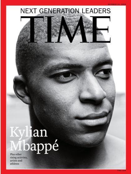 O craque francês Kylian Mbappé se tornou o quarto futebolista, depois de Lionel Messi, Neymar e Mario Balotelli, a se tornar capa da revista Time.