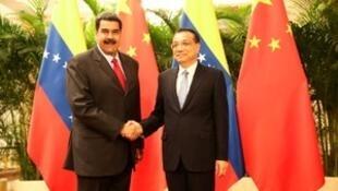 中国总理李克强会晤委内瑞拉总统马杜罗。2018-09-14。