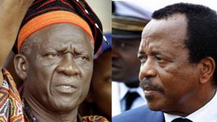 Le leader du Social Democratic Front, John Fru Ndi (g) est le principal opposant du président, Paul Biya (d).