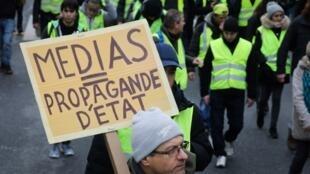 Các phương tiện truyền thông Pháp thường xuyên bị Áo Vàng chỉ trích là đứng về phía chính phủ. Ảnh chụp ngày 12/01/2019.