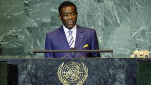 Teodoro Obiang Nguema Mbasogo à la tribune de l'ONU le 25 septembre 2008.
