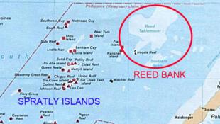 Bản đồ Bãi Cỏ Rong (Reed Bank), thuộc vùng đặc quyền kinh tế của Philippines, đang có tranh chấp với Trung Quốc.