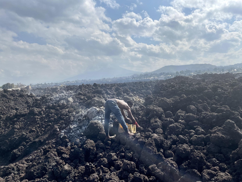 Buhene, territoire de Nyiragongo, après la coulée de lave volcan rdc