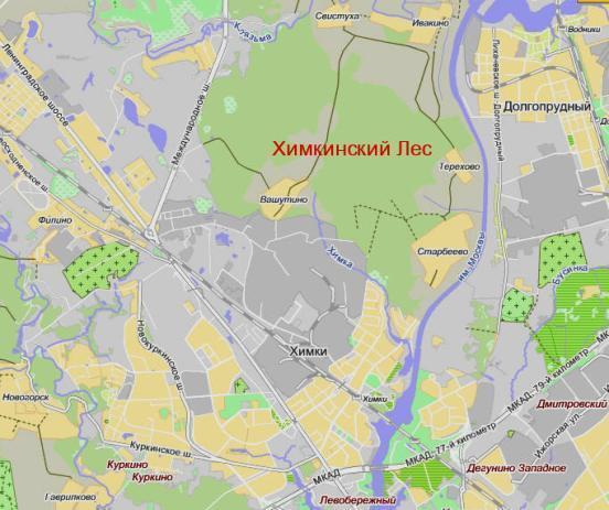 План Химкинского леса