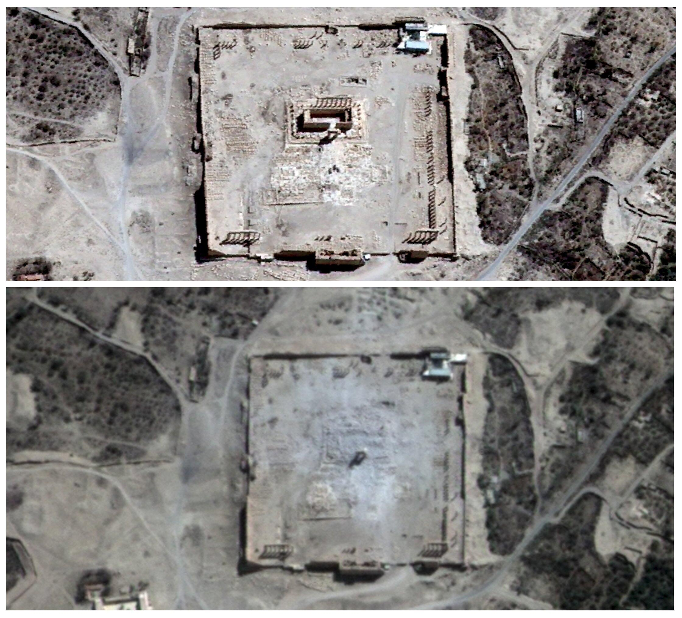 As imagens por satélite mostram o Templo de Bel antes (em cima) e depois da deflagração em Palmira, Síria. 27 de agosto, 2015.