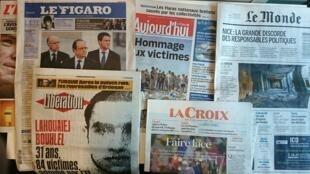 Primeiras páginas dos jornais franceses de 18 de julho de 2016
