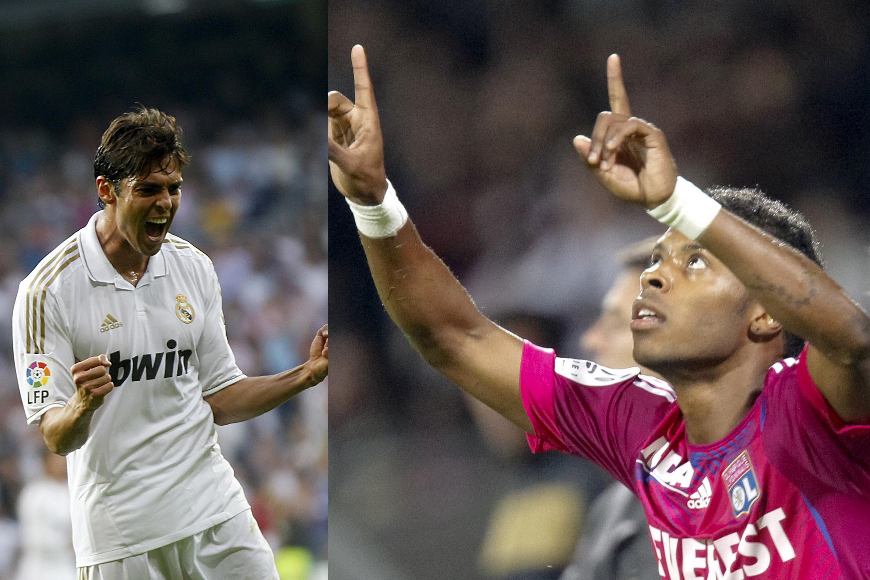 Os atacantes Kaká, do Real Madrid, e Michel Bastos, do Lyon, se enfrentam nesta terça-feira na Liga dos Campeões.