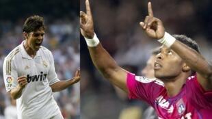 Os atacantes Kaká, do Real Madrid, e Michel Bastos, do Lyon, se enfrentam nesta...