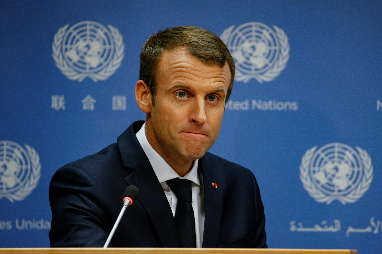 法國總統馬克龍在72屆聯大會議上演講