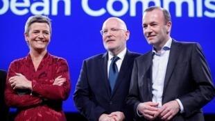 Margrethe Vestager (à gauche) et Manfred Weber (à droite) sont officiellement candidats à la présidence de la Commission européenne.