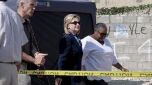 La chef de la diplomatie américaine, Hillary Clinton, à Haïti, le 30 janvier 2011.