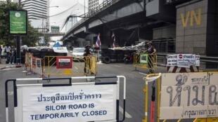 泰国曼谷街头的路障