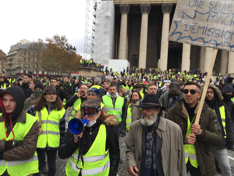 Yellow Vest protesters on Paris's Place de la Madeleine on Saturday
