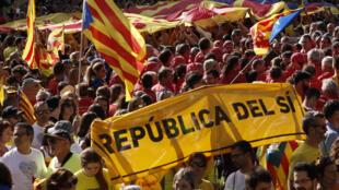 Wasu daga cikin al'ummar yankin Catalonia a Spain