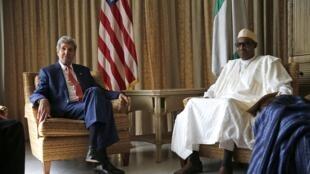 Sakataren Harakokin Wajen Amurka john Kerry yana ganawa da Janar Muhammadu Buhari Dan takarar Shugaban kasa a Jam'iyyar adawa ta APC