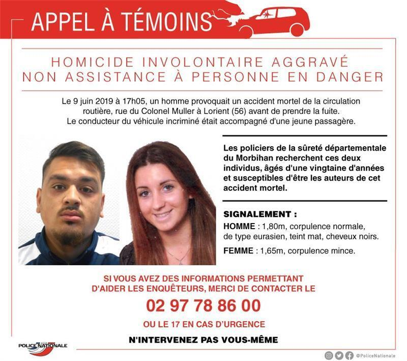French police have put out an appeal for witnesses who have seen these two people to come forward