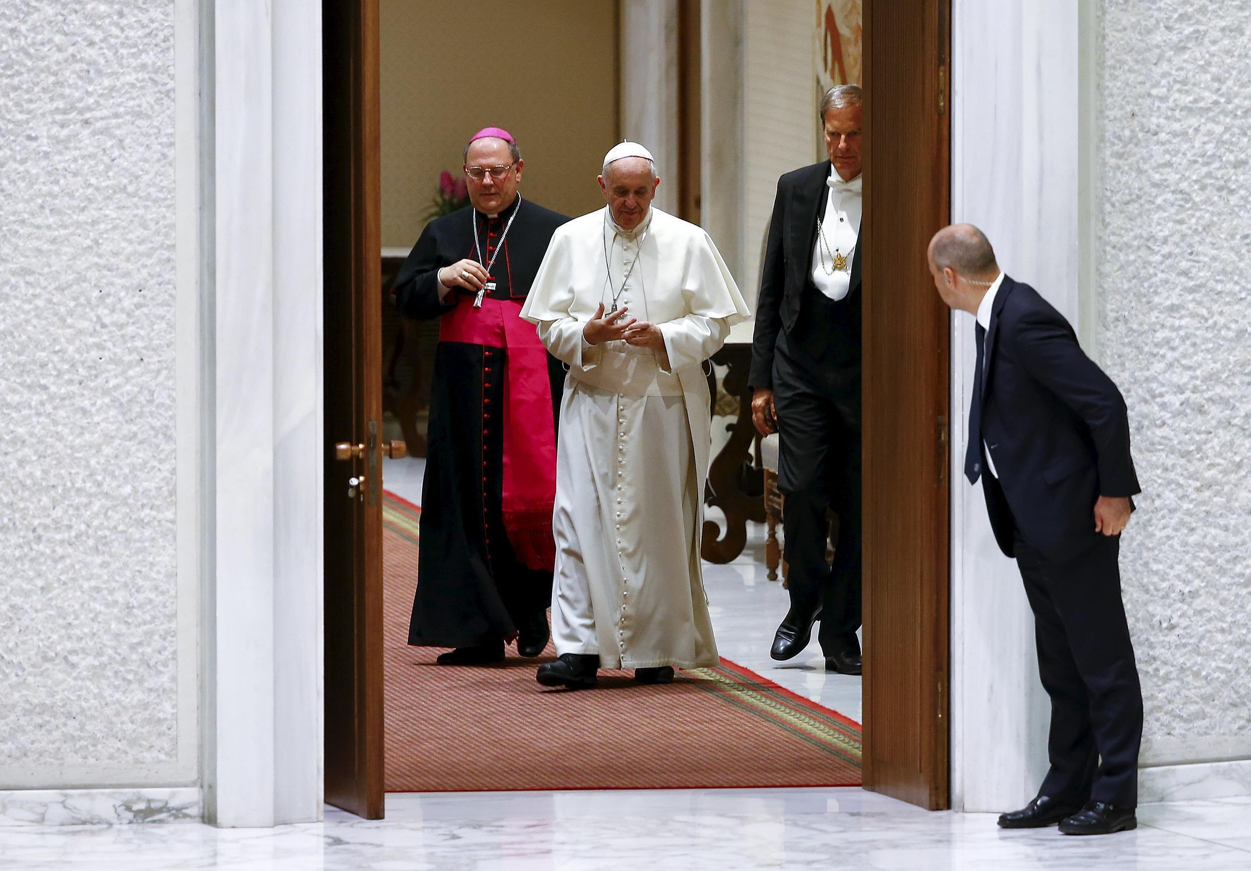 Pope Francis arrives to lead a special audience to mark the 50th anniversary of Synod of Bishops at the Vatican