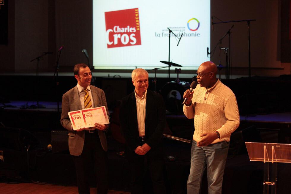 RFI's Pierre René-Worms and Manu Dibango receive the prize