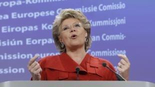 Viviane Reding, lors d'une conférence à Bruxelles, le 27 octobre 2010.