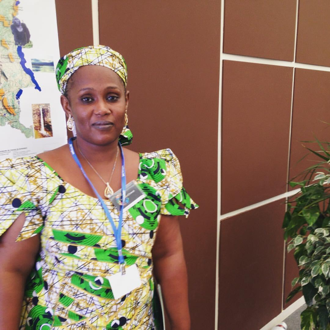Civil society actor Hassimi Fadimatou, president of Horizon project, poses in the African pavilion at COP22 in Marrakesh, on Wednesday 16 November 2016